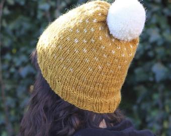 À la main en tricot chapeau d'hiver, Pom pom Fair Isle Beanie, Slouchy chapeau de fait à la main