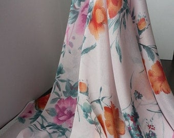 1yd (0.91m) of chiffon print fabric- Light Pink with floral pattern - 110cm(43inch) Wide,RL_C002