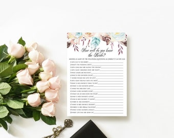 Boho Floral How Well Do You Know The Bride Game Printable Bridal Shower Game Bachelorette Game DIY Wedding Shower Bridal Party Game Download