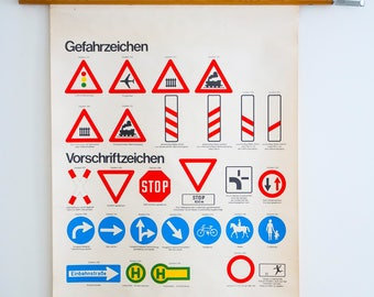 School map Vintage Pull down chart Traffic Signs