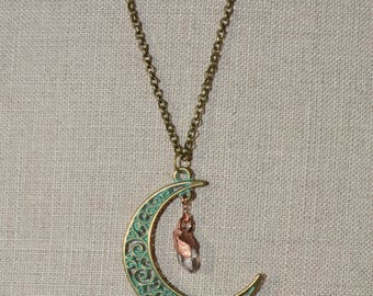 Copper Quartz Crystal Necklace with Crescent Moon