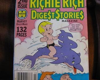 Vintage 1978 Richie Rich Digest Stories Magazine Big 2nd Issue Harvey Digest Mags