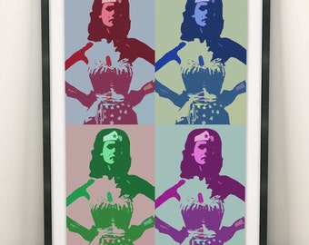 Wonder Woman Print (Limited Edition of 100) - A3 Poster Colours Wonder Woman Poster Warhol Style Street Pop Art Print Wall Art Gift Rare