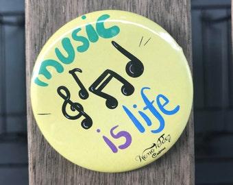 Music Button badge (pinback badge)
