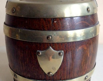 Antique  barrel, oak and silver plated bands and shield