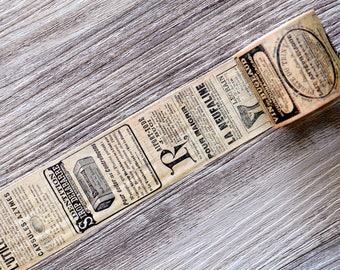 Retro Washi Tape,old newspaper washi tape,Vintage Newspaper Wide Washi Tape,