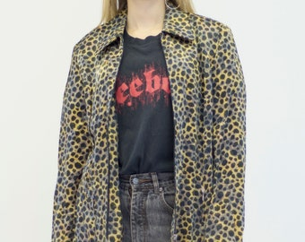 VINTAGE Black Yellow Mix Tiger Print Zip Retro Shirt