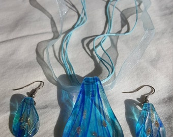 Art Glass Neclace and Earring Set