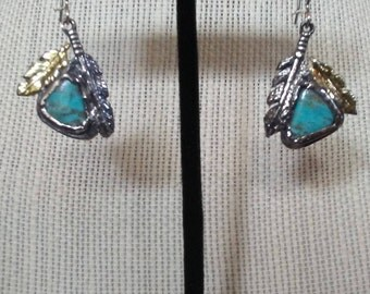 feather earrings, turquoise, gold, sterling silver, natural turquoise from kingsman mine