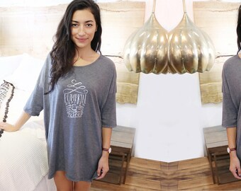 Gray Pumpkin Spice Sleep Shirt - Ladies Pajama Shirt - Oversized PJ Shirt - One Size Fits Most - Boho Night Shirt - Women's Loungewear