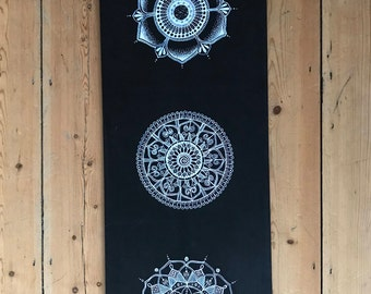 Three mandalas on black wooden board - 'The Lila board'