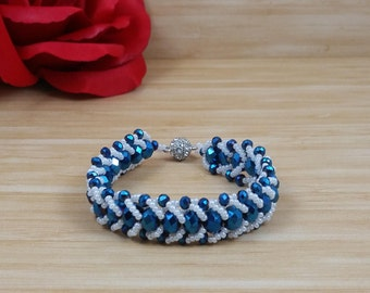 Blue Iridescent with White Seed Bead Bracelet, Weaving bracelet, Czech Glass Seed Beads, with Rhinestone Plated Magnetic Clasp Active