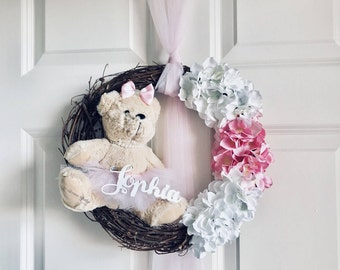 Baby Girl Door Decor, Nursery Decoration, Baby Door Decor, Baby Door Wreath Design. Pink Door Decor