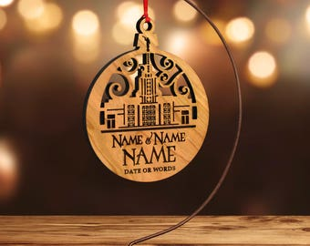 LDS Temple Ornament, Idaho Falls, Family Forever (or Customize) in Laser Cut Hardwood