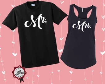 Mr. and Mrs. Shirts Couples Wedding Matching, Custom Made Couple Tees Hubby Wife EST, Shirts Weeding Clothing, Wife Shirt, Hubby Shirt, V8
