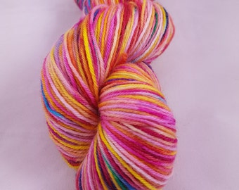 """Hand Dyed Superwash Merino Nylon Sock Yarn, 100g, """"Mardi Gras"""""""