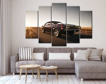 Dodge Charger canvas, Dodge Charger, Classic car, Vintage car, Multipanel canvas, Dodge Charger print, Gift for him, Dodge Charger wall art
