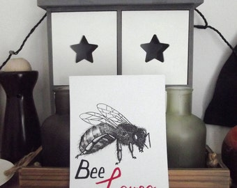 Bee cards with different epigraphs (drawing replica)