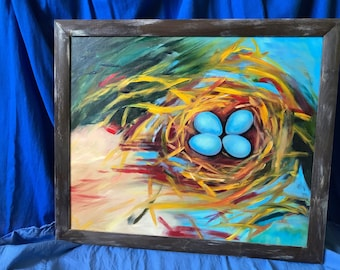 robin's blue eggs nest / 50x60 oil painting / large impressionist canvas art / rustic wall decor / bird's nest artwork / nature lover gift