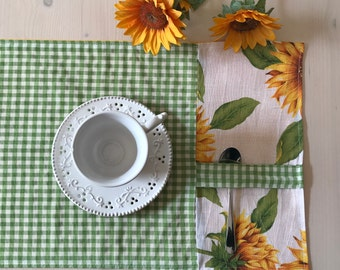 American placemat with sunflowers, placemats with sunflowers