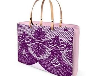 Pink Lace Genuine Nappa Italian Leather Handbag-handmade