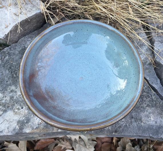 medium ceramic bowl in slate blue and brown