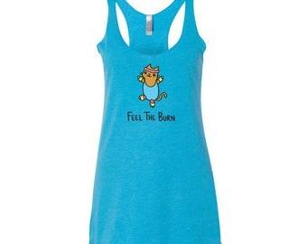 Cute Yoga Tank Top Feel the Burn Work Out Fitness Cat Shirt women's tri-blend racer back workout tank top