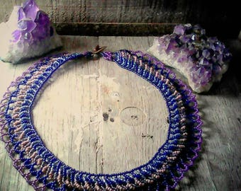 choker purple lace seed bead weaving necklace netting stitch lacy hombre bright vivid colors