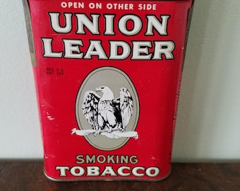 Union Leader Tobacco Smoking Tin Pipe or Cigarette Early 1900's Red Tin