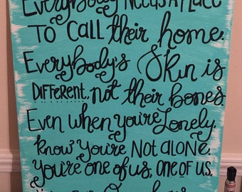 One of Us, New Politics, Lyrics, handpainted, hand lettered 16x20 canvas panel