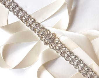 Sash - Centerpiece Crystal Bridal Belt Sash in Silver - White Ivory Silver Satin Ribbon - Rhinestone Wedding Sash - Extra Long Wedding Belt