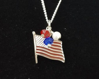 """America Flag Necklace, Sterling Silver United States of America Flag Charm with Red, White & Blue Beads- USA Charm Pendant 18"""" Chain"""