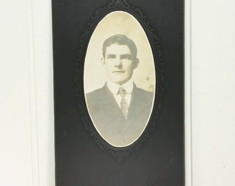 Edwardian Man in Striped Suit and Tie Found Photo Erwin Bellman Instant Ancestor