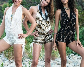 Burning Man Shorts Romper ~ Hooping Clothes ~ Shorts Onesie ~ Playa Jumpsuit ~ Playsuit ~ Made in america ~ Belly Dance Costume ~ Shorts
