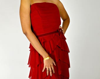 Christmas Party Dress,  Red Dress, Cocktail Party, Party Dress, Ruffled Dress, Strapless Dress,  ABS Dress, Size Large, Deadstock