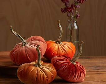 Scented Velvet Pumpkins, SET of 4:  Asst. HARVEST ORANGE