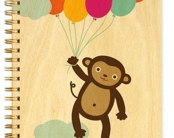 Monkey Balloons Journal - Birch Wood Journal - Real Wood Notebook - Monkey - J1823