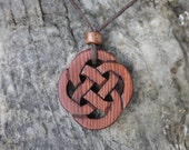 Hand Carved 6000 Years Old Irish Bog Yew Celtic Infinity Necklace, Hand Made In Ireland, Wooden Celtic Knot Necklace, Unique Gift For Men