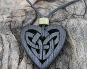 Irish Bog Oak Celtic Heart Pendant, Handcarved 5000 Years Old Irish Bog Oak Jewelry, Unique Irish Love Knot Necklace, Hand Made in Ireland