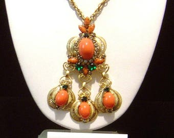 Vintage Juliana Necklace Brooch Earrings coral Cabochon Necklace/Brooch combo & Earrings DeLizza Elster