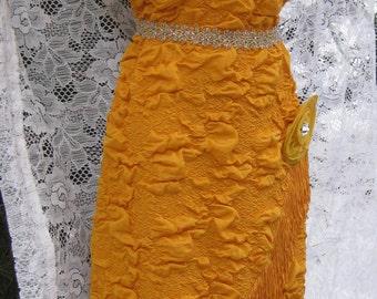LARGE Flapper dress, Great Gatsby dress Vintage 1980s 80 dress in 1920s 20s style Yellow flapper dress Marigold dress Jazz dress