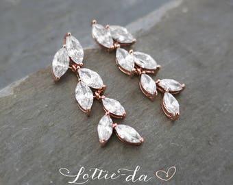 Rose Gold Vintage Style Bridal Earrings, Leaf Earrings, Rose Gold, Gold or Silver Wedding Earrings, Marquise Chandelier Earrings - 'AVITA'