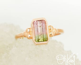 Rose Gold Pink & Green Tourmaline Ring - Watermelon Tourmaline - Bezel Setting