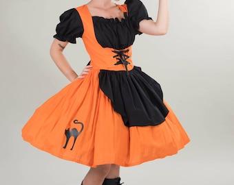 Cute Witch Halloween Costume Dress Orange & Black Dress Black Cat  Cute Modest Couture Unique High Quality Costume Womens Small Medium Large