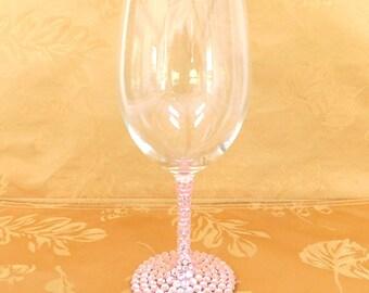 Light Pink Rhinestone Decorated Wine Glasses, Soft Pink, Pastel Pink Toasting, Wedding, Shower, Bridesmaid Glasses, Choose Any Quantity
