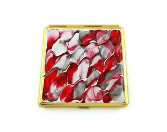 Red Compact Mirror in Hand Painted Enamel Quartz Inspired Square Mirror with Color and Personalized Option