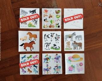 1, FUZZY Sandylion Sticker, Rabbit sticker, Farm Animal stickers, Horse stickers, Cow sticker, Goat sticker, Donkey sticker, Sandylion