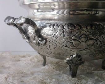 Antique SilverPlate Repousse Lidded Bowl. Victorian Ornate Repousse Footed Covered Bowl . Grape & Leaf Motif