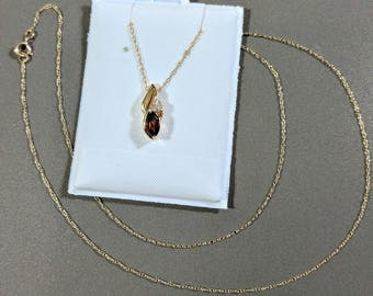 Garnet Necklace 10k Yellow Gold Fine 18 Inch Chain Garnet Pendant with Diamond Accent Absolutely Lovely Simply Elegant Perfectly Giftworthy