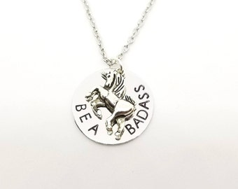 BE A BADASS Unicorn Necklace | Silver Unicorn Charm on Hand Stamped Necklace